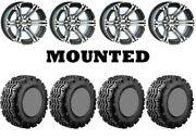 Kit 4 Ams V-trax Tires 25x10-12 On Itp Ss212 Machined Wheels Fxt
