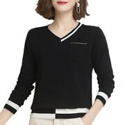 Women Casual Irregular V-neck Sweater Knitwear Warm Long Sleeve Pullover S-3xl B