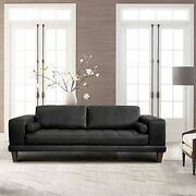 Armen Living Wynne Contemporary Sofa In Genuine Black Leather With Brown Wood...