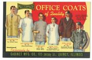 Menand039s Office Coats Of Quality Great Linen Ad Card. Cabinet Mfg. Quincy Il Ca1940