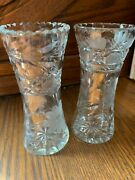 Two Beautiful Vintage Crystal Glass Flower Pattern Bud Vases With Free Shipping