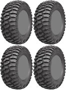Four 4 Ams M1 Evil Atv Tires Set 2 Front 27x9-14 And 2 Rear 27x9-14