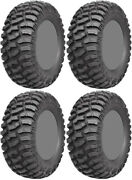 Four 4 Ams M1 Evil Atv Tires Set 2 Front 27x9-14 And 2 Rear 27x11-14