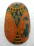 Vintage Oval Shape Owl And Clown Litho Print Baby Rattle Tin Toy , Japan