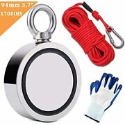 1700lbs Fishing Magnets With Rope 65ft Carabiner Glove Large Strong Heavy Duty