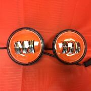 4.5 Auxiliary Daymaker Orange Spot Passing Hid Led Fog Lights Bulb Motorcycl...