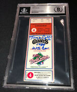 Tony Larussa Signed 1989 World Series Game 4 Ticket Beckett 091 A's Clinch Title