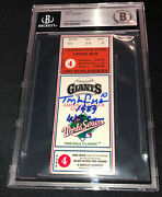 Tony Larussa Signed 1989 World Series Game 4 Ticket Beckett 092 A's Clinch Title