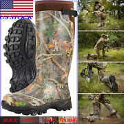 Hisea Menand039s Hunting Boots Waterproof And Insulated Neoprene Rubber Rain Snow Boots