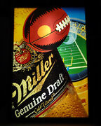 1992 Miller Genuine Draft Beer And Football Advertising 32t Lighted Tavern Sign