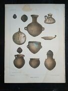 J M Stanley C1855 Antique Lithograph Native American Indian Antiquities Pottery