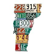 Vermont License Plate Map Cut Sign Green Mountain State License Map Sign