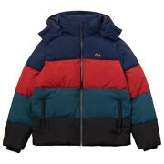 Lacoste Menand039s Navy Blue Colorblock Water-repellent Tafetta Down Jacket 350