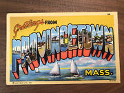 Vintage 40s Greetings From Provincetown Massachusetts Large Letters Postcard