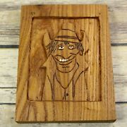 Vintage Folk Art Cowboy Relief Carving Wood Carved Outsider Western Country Farm