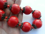 Magnificent 100 Huge Vintage Hand Carved Coral Genuine Organic Red Round Beads.
