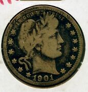 1901-o Barber Silver Quarter - New Orleans Mint - Mh544