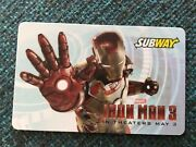 2013 Iron Man 3 Movie Subway Blue Gift Card No Value Collectible Marvel Cool