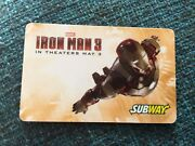2013 Iron Man 3 Movie Subway Yellow Gift Card No Value Collectible Marvel Wow