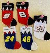 Nascar Christmas Stockings With Embroidered Signatures Nwt 15x 8in Lot Of 5