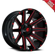 24x12 Fuel Wheels D643 Contra 6x135.00/6x139.70 Gloss Black Red Milled -44 S42