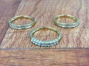 Affinity 14k Gold Clad Sterling 1/2ct Set Of 3 Diamond Rings Size 9 Qvc 364