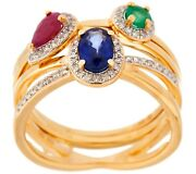 14k Gold Plated Sterling Emerald, Sapphire And Ruby Stack Rings Size 6 Qvc 274