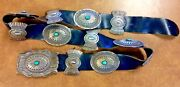 Old Pawn Vintage Sterling Silver And Turquoise Heavy Concho Belt Signed