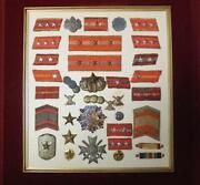 Soldier Badges Jp Army Manchurian-related Insignia Various Medals Framed M3713