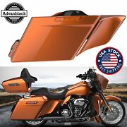 Scorched Orange Extended Stretched Saddlebag Side Covers For 14+ Harley Touring