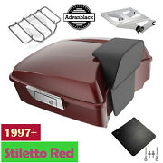Stiletto Red Chopped Tour Pak Pack Trunk Luggage For 1997+ Harley Davidson