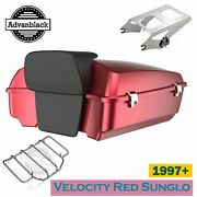 Velocity Red Sunglo Chopped Tour Pack Trunk Luggage For 97+ Harley Davidson