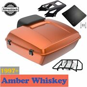 Advanblack Amber Whiskey Chopped Tour Pack Black Hinges For Harley Touring 97-20
