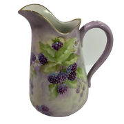 Vintage Hand Painted Porcelain Pitcher Blackberries Thorns And Flowers Signed