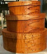 Tiger Maple Shaker Oval Boxes---stack Of 3-----sizes  1, 2 And 3