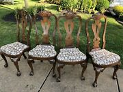 Set Of Four Kittinger Williamsburg Mahogany Dining Room Chairs Cw-146