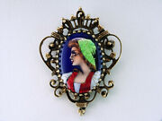 Antique Victorian French Enamel 14k Yellow Gold Pendant Pin Brooch