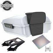 Crushed Ice Pearl Chopped Tour Pack Trunk Backrest Pad For 97-20 Harley Touring