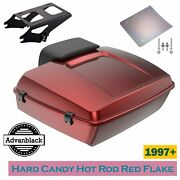 Hard Candy Hot Rod Red Flake Chopped Tour Pack Luggage For 1997+ Harley Davidson