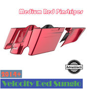 Advanblack Velocity Red Sunglo Stretched Saddlebag Side Covers For Harley 2014+