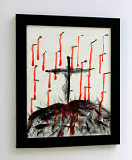 Look Patrick Mcdowell Original Painting The Crucifixion Hand Signed Framed Coa