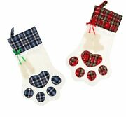 Christmas Stockings For Dog Cat Kids Candy Gift Bag Plaid Paw Tree Ornaments