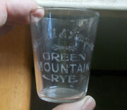 Shortell And Timmons Green Mountain Rye Etched Pre Pro Whiskey Shot Glass 1910