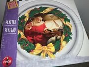 Vintage Christmas Coca Cola Platter Tray 1997 Glassware Collection Indiana Glass