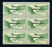 Canal Zone Co1 Mint Stamp Block W/ Pos 45 'o Over A' And Pos 50 'f Over A' Var's