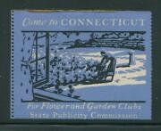 Come To Connecticut For Flower And Garden Clubs Reklamemarke Poster Stamp