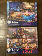 Lot Of 2 Disney 4 In 1 Jigsaw Puzzles 500 Pieces Each / 8 Total Puzzles 3673-1
