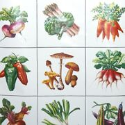 1970s Vintage Contact Paper Kitchen Design With Large Vegetables On Glossy White