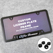 Alfa Romeo Sport Front Or Rear Carbon Fiber Texture License Plate Frame Cover