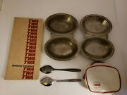Lot Of Twa Collectibles 2 Divided Silvertone Dishes And Spoons/document Holder